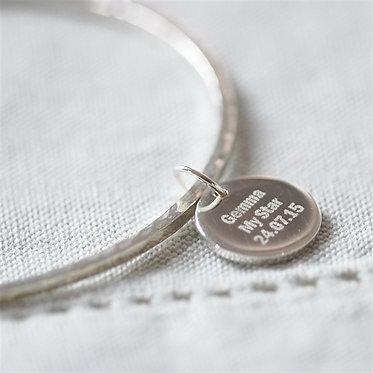 silver hammer finish pendant bracelet
