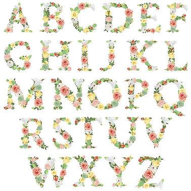 Floral initial print alphabet
