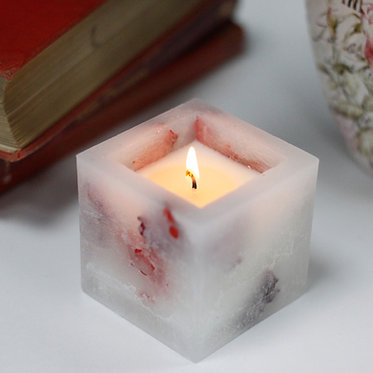natural rose candle square