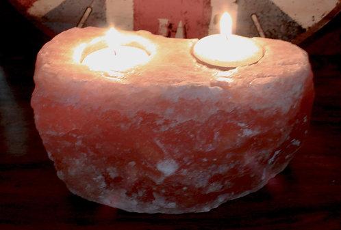 double candle holder rock salt