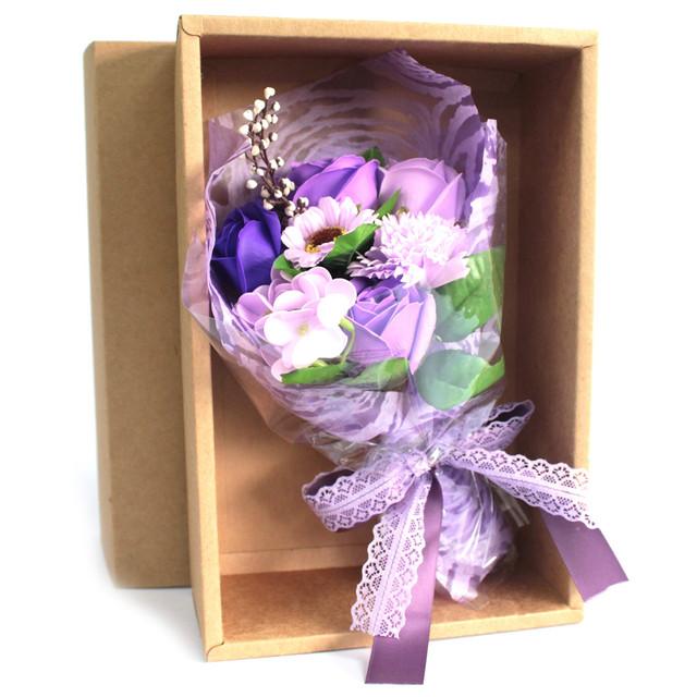 boxed hand soap flower bouquet purple 1.
