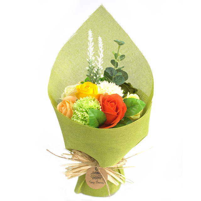 standing soap flower bouquet green yello