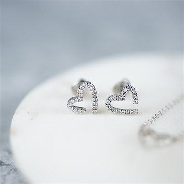 diamond heart shaped earrings