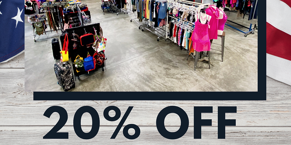 june 30 - july 2   20% off the entire store