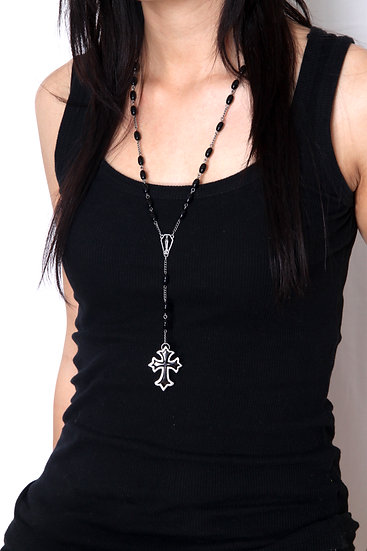 Gunmetal Silver Matte with Black Beads Celtic Cross Rosary Necklace