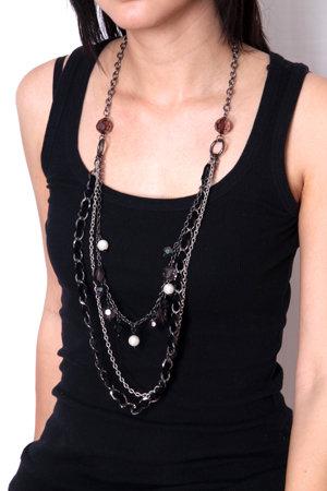 Three Tier Jeweled Bead Necklace with Velvet Trim