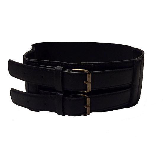 Black Dual Buckle Elastic Waistband Belt