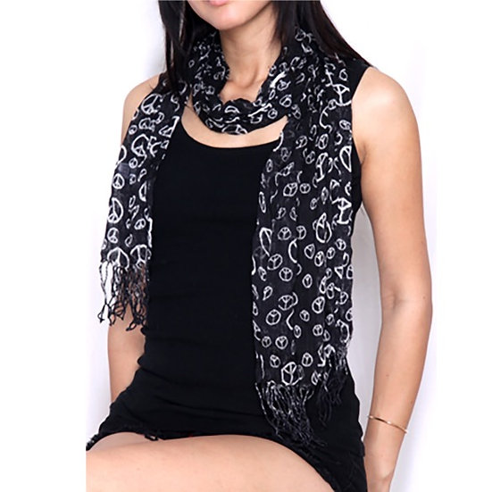 Black and White All-Over Peace Sign Long Scarf