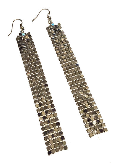 Long Mesh Disco Earrings