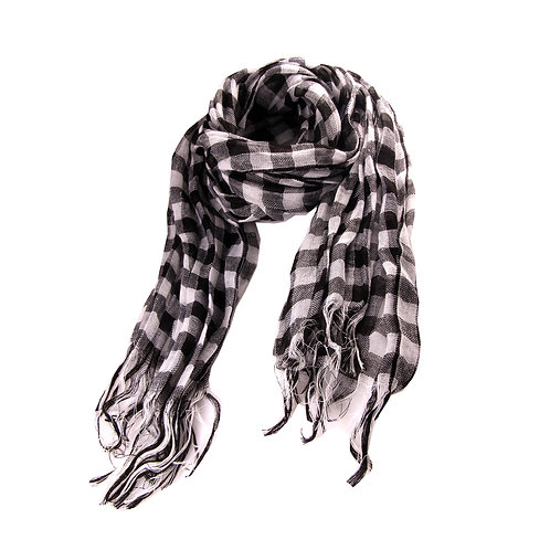 Checkered Black and White Long Scarf