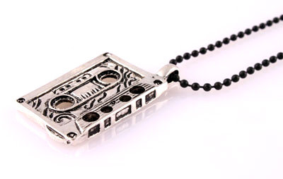 Shiny Silver Cassette with Black Matte Ball Chain Necklace