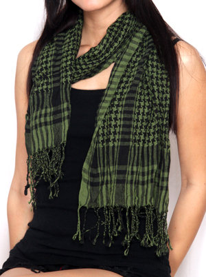 Ethnic Green and Black Scarf