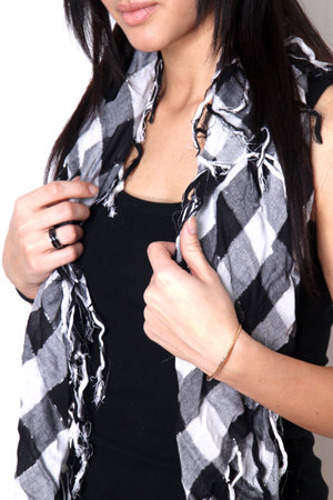 Checkered Black, White with Silver Lurex Scarf