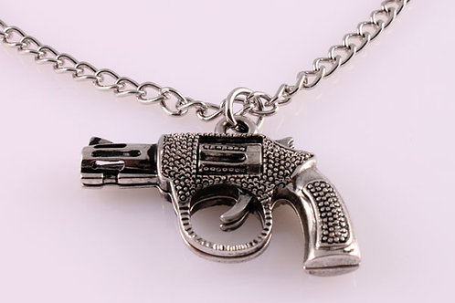 Silver Shiny Revolver with Silver Shiny Chain Necklace