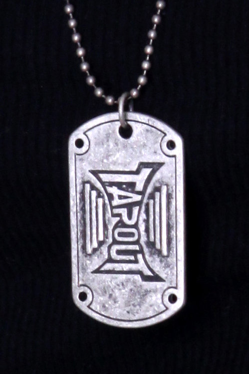 TAPOUT Gunmetal Silver Dog Tag Necklace