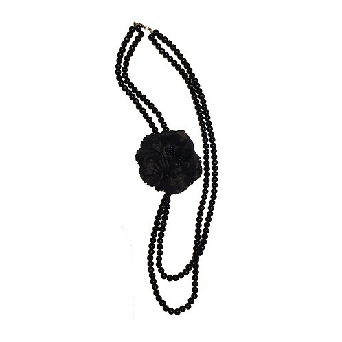 Two Tier Black Bead Necklace with Flower