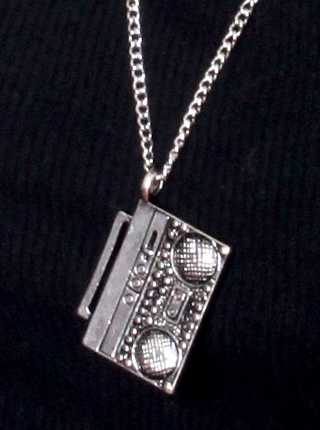 All Silver Shiny Boombox Chain Necklace