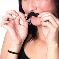 Shiny Black Mustache with Silver Shiny Chainlink Necklace