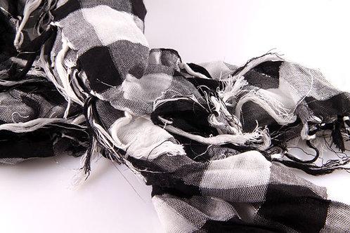 Checkered Black, White with Silver Lurex Scarf