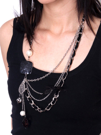 Four Tier Jeweled Bead Necklace with Bow, Plastic Rock and Velvet Trim