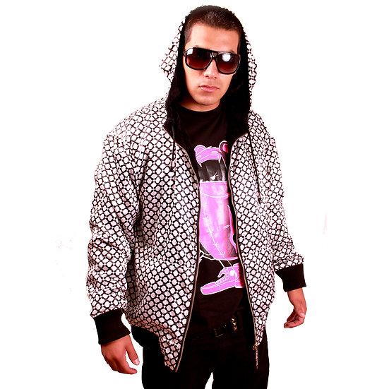 ROBN STEEL Velvet and Satin Long Sleeve Zip Up Reversible Jacket