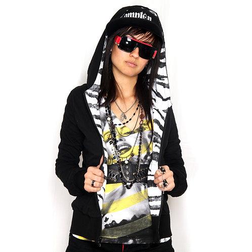POL Reversible Tiger Print Hooded Jacket