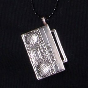 Silver Shiny Boombox with Black Shiny Ball Chain Necklace