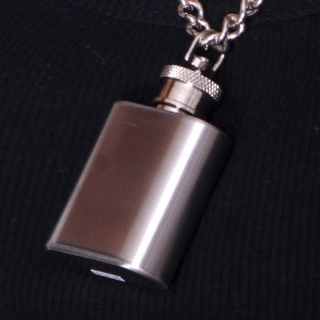 Silver Matte Flask with Silver Shiny Chainlink Necklace