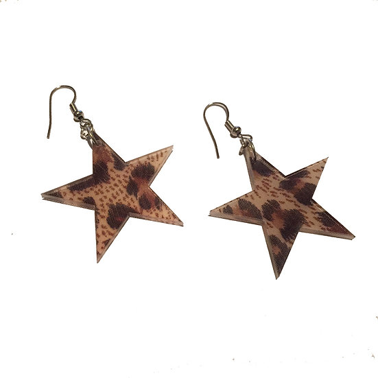 Leopard Print Star Earrings