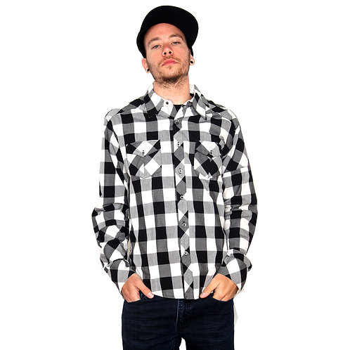 STISKA Checkered Slim Fit Collared Button Up Long Sleeve Shirt