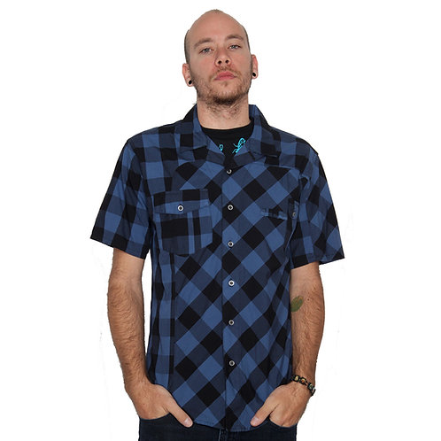 STISKA Checkered Slim Fit Collared Button Up Short Sleeve Shirt