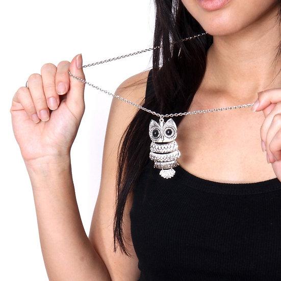 Silver Shiny Owl Necklace