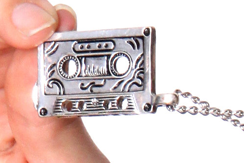 All Silver Shiny Cassette Chain Necklace