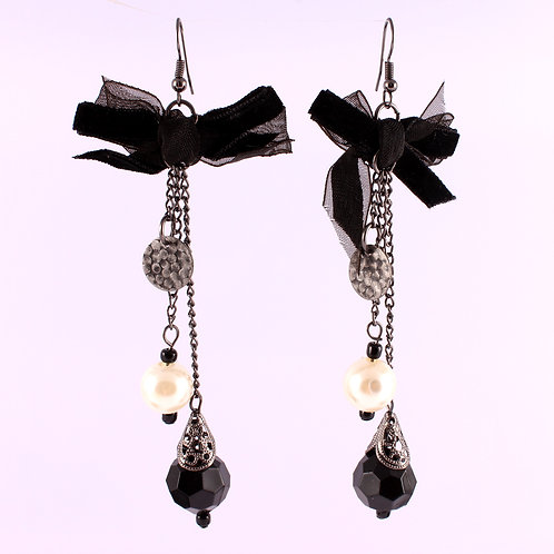 Babydoll Victorian Black Goth with Bow Ribbon Earrings