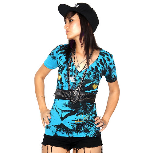LIRA Tiger V-Neck Short Sleeve Shirt