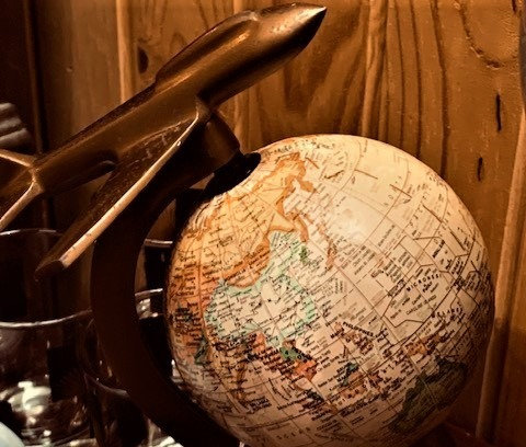 World Globe w/Airplane Stand