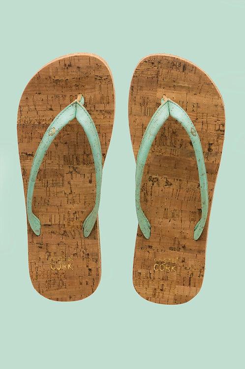 Aqua cork flip flops