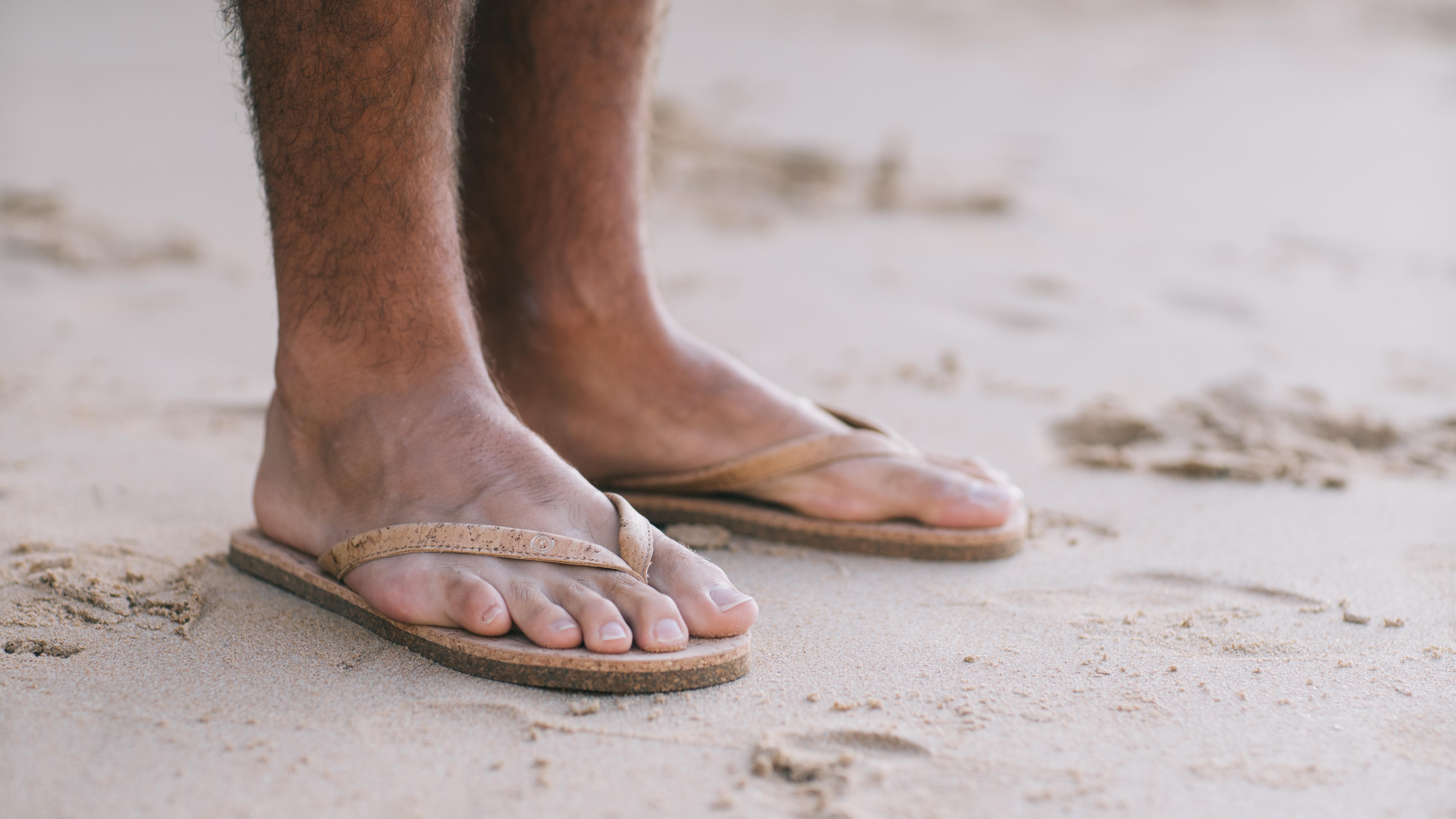 All cork flip flops