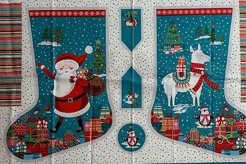Santa and his llama stocking panel