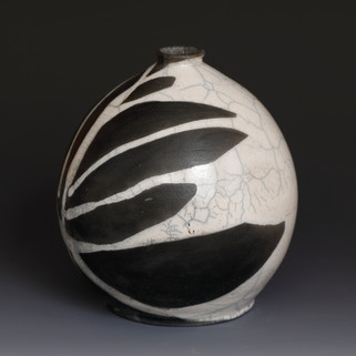 Raku Bottle with White Crackle Glaze .JP