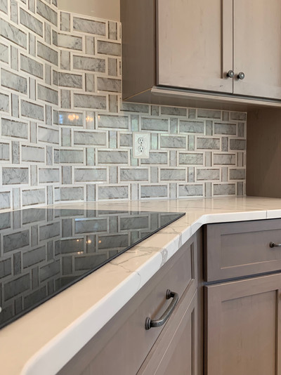 Basketweave backsplash. Interior design