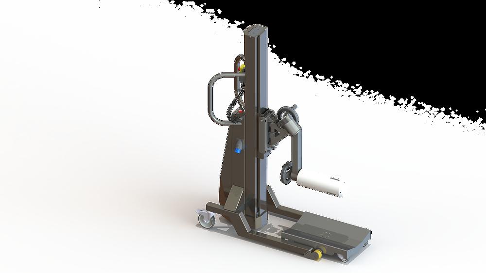 Die mobile Hebehilfe ezzLIFTmaster zum Handeln von Folienrollen mit einem Dorn