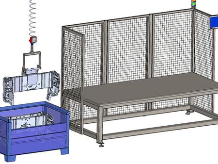Handling von Bauteilen für einen Schweißroboter