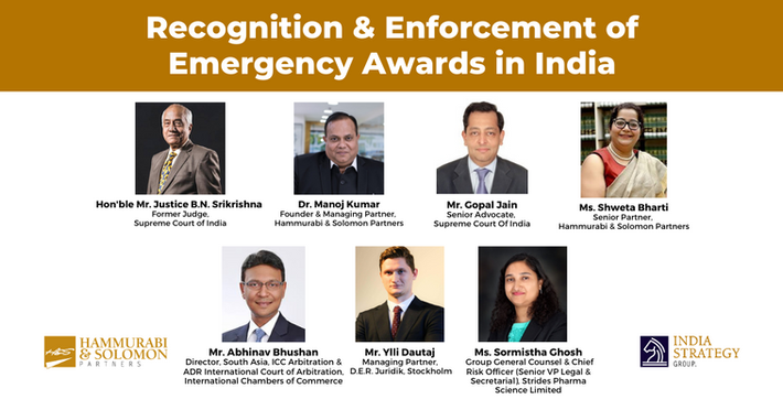 Recognition & Enforcement of Emergency Awards in India [Webinar & Issue Brief]