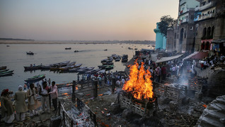 Funeral pyres burn at Manikarnika Ghat, one of the oldest and most sacred place for Hindus to be cremated, on the banks of river Ganges in Varanasi, India, Friday, Oct. 18, 2019. For millions of Hindus, Varanasi is a place of pilgrimage and anyone who dies in the city or is cremated on its ghats is believed to attain salvation and freed from the cycle of birth and death. Tens of thousands of corpses are cremated in the city each year, leaving half-burnt flesh, dead bodies and ash floating in the Ganges.