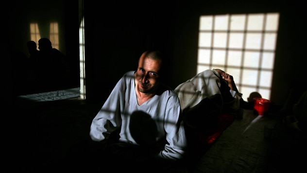 Javed, who has recently left using drugs, looks on inside the Drug Treatment and Rehabilitation Center in Kabul.