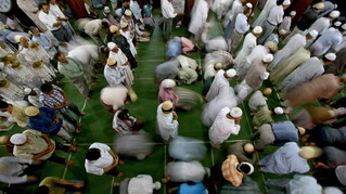 Kashmiri muslims pray inside a shrine in Srinagar, the summer capital of India-administered Kashmir, India 2007.