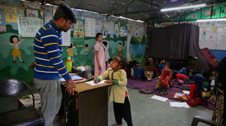 7-year-old Farmaan studies at Salaam Baalak Trust, an NGO working for street children, in New Delhi, India.