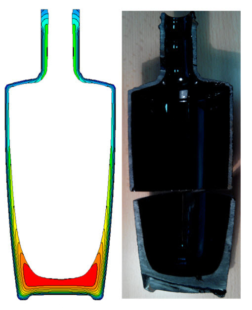 Figures 11 and 12 (left and right): Temperature/glass thickness profile using black glass physical properties (left). On the right the actual bottle.