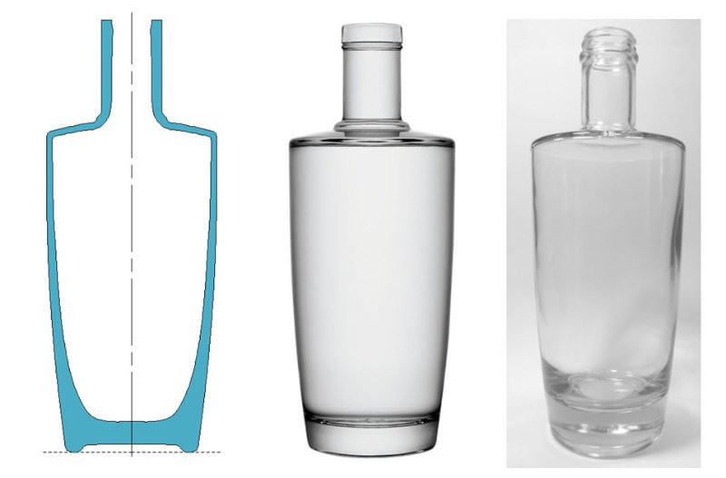 Figures 2, 3 and 4 (from left to right): Glass thickness simulation ;3D Rendering; Actual bottle